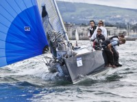 Robert O'Leary helms Antix Beag from Cork out to practice on Dublin Bay before starting the Volvo Dun Laoghaire Regatta yesterday (Thursday).  Photograph: David Branigan/Oceansport...