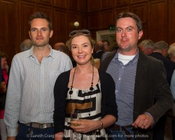 (l to r) Wayne Kirken, Misty Bagnat, and Ciaran Conroy at the civic reception in Dún Laoghaire Town Hall to launch the Volvo Dún Laoghaire Regatta 2015.