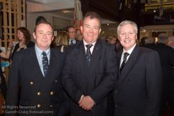 (l to r) Mark Mc Gibney (Sailing Manager, Royal Irish YC), Patrick Burke (Rear Commodore Sailing, Royal Irish YC), andJoe Costello (Vice Commodore, Royal Irish YC) attending the official launch in the National Maritime Museum of Ireland.