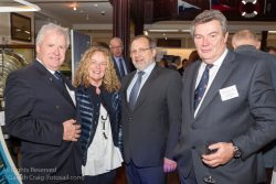 (l to r) Ronan Beirne, Pamela Collen (Collen Construction), Neil Collen (Managing Director, Collen Construction), and Don O'Dowd attending the official launch in the National Maritime Museum of Ireland.
