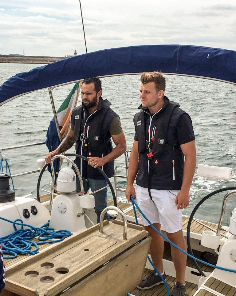 Isa Nacewa and Jordi Murphy try sailing on Dublin Bay