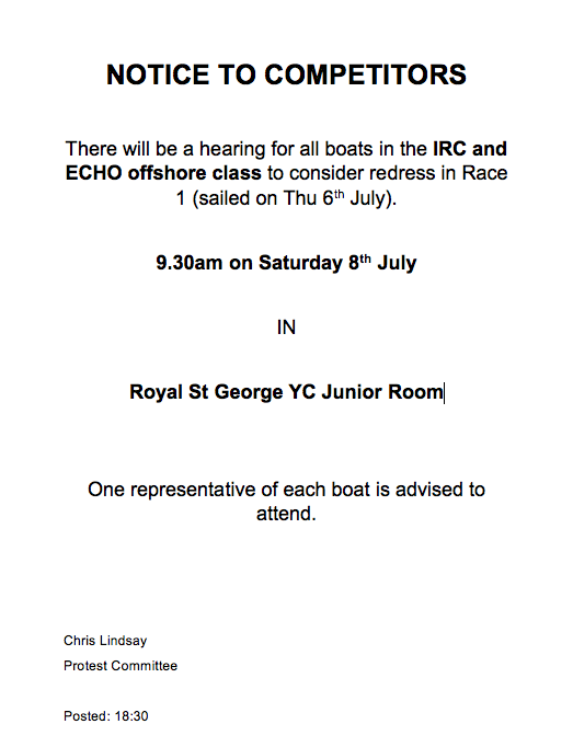 Notice to Offshore Class Competitors