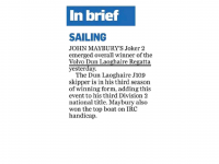 Irish Independent :: Sailing – In Brief