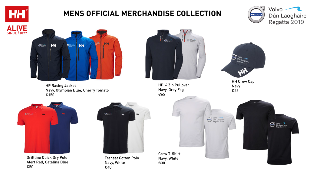 A view of the official clothing range available in male sizes for Volvo Dún Laoghaire Regatta 2019