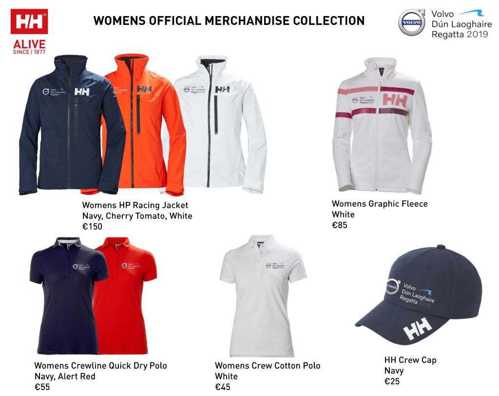 A view of the official clothing range available in female sizes for Volvo Dún Laoghaire Regatta 2019